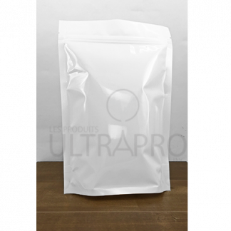 Sachet stand-up blanc avec zipper unis/plain 7.5 x 11 x 3 B.G.